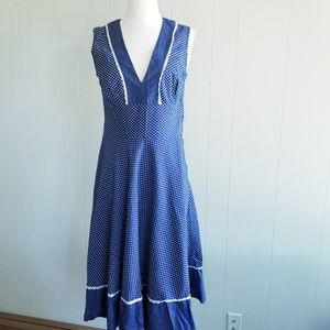 1970s Unlabeled Navy & White Polka Dot Sun Dress